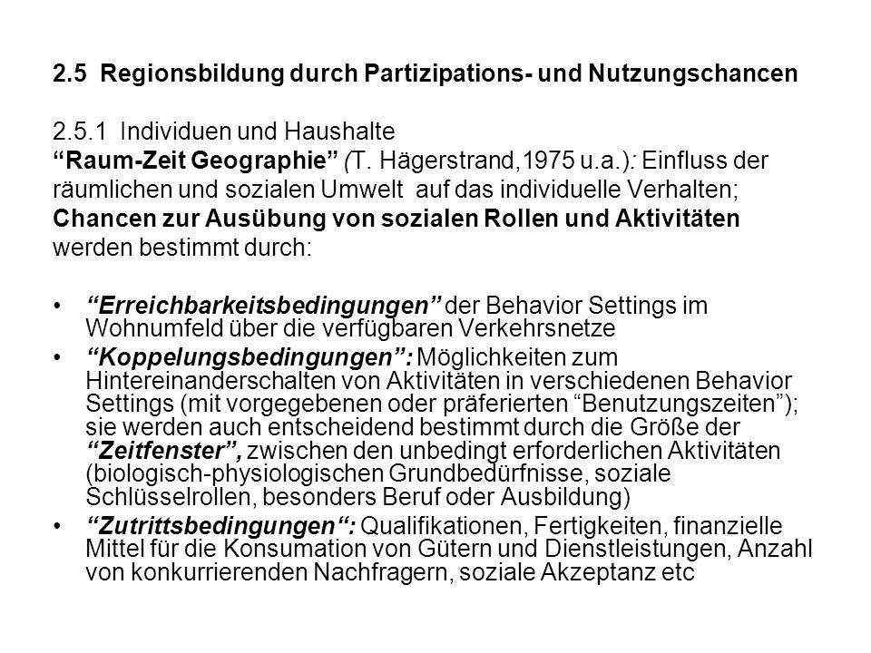 2.5 Regionsbildung durch Partizipations- und Nutzungschancen 2.5.1 Individuen und Haushalte Raum-Zeit Geographie (T. Hägerstrand,1975 u.a.): Einfluss