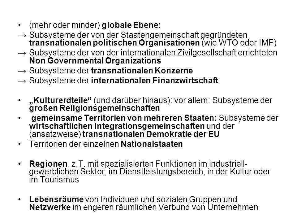 (mehr oder minder) globale Ebene: Subsysteme der von der Staatengemeinschaft gegründeten transnationalen politischen Organisationen (wie WTO oder IMF)