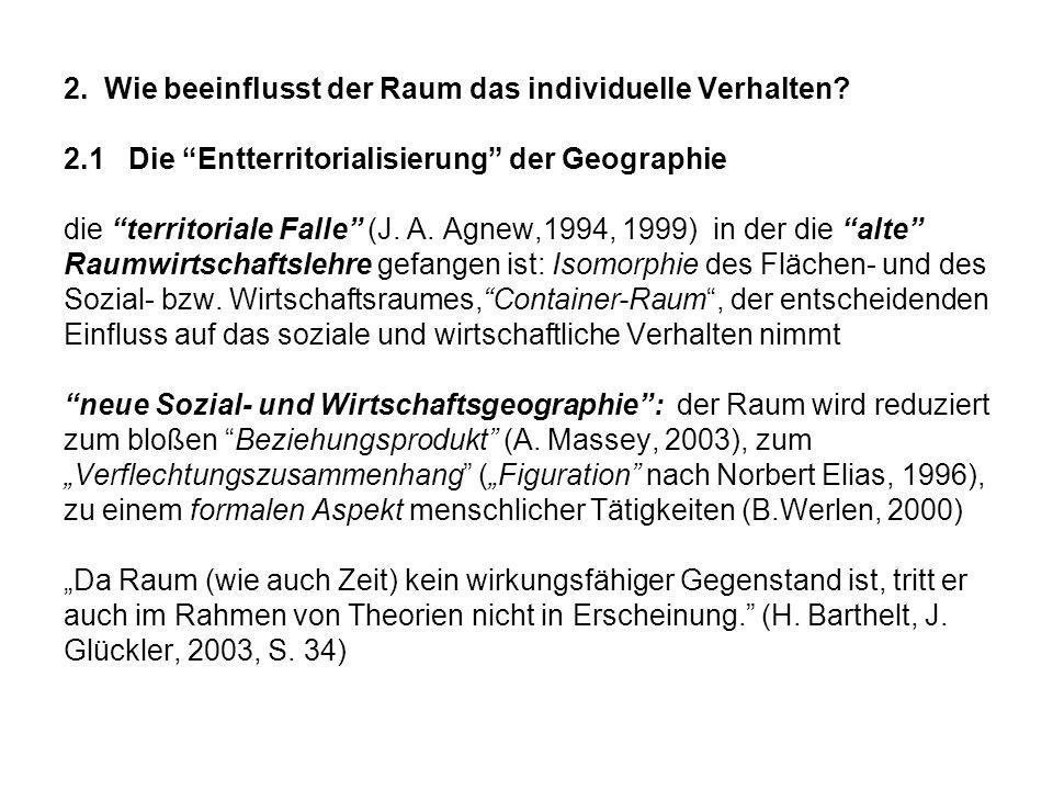 2. Wie beeinflusst der Raum das individuelle Verhalten? 2.1 Die Entterritorialisierung der Geographie die territoriale Falle (J. A. Agnew,1994, 1999)