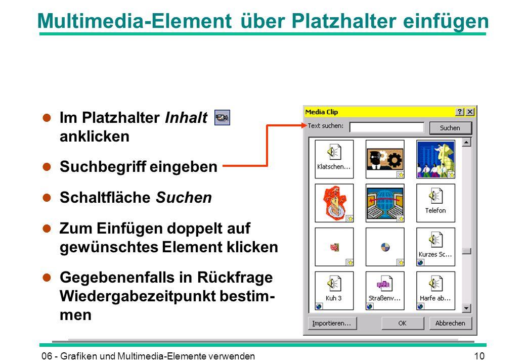 06 - Grafiken und Multimedia-Elemente verwenden10 Multimedia-Element über Platzhalter einfügen l Im Platzhalter Inhalt anklicken l Suchbegriff eingebe