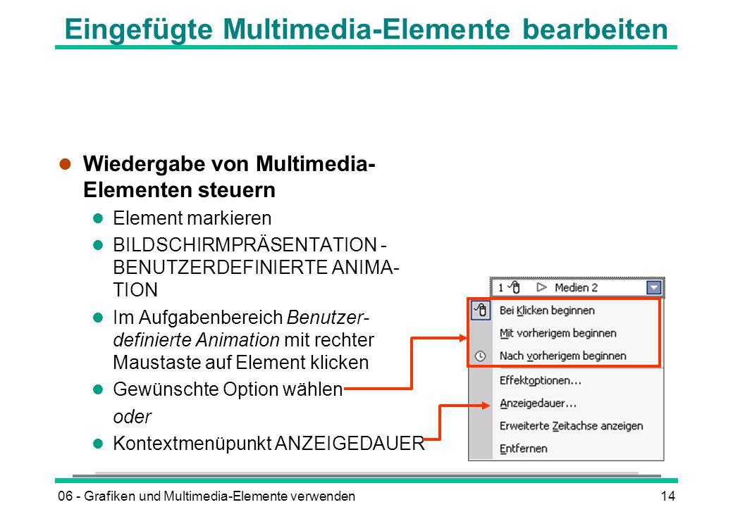 06 - Grafiken und Multimedia-Elemente verwenden14 Eingefügte Multimedia-Elemente bearbeiten l Wiedergabe von Multimedia- Elementen steuern l Element m