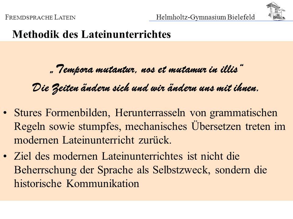 F REMDSPRACHE L ATEIN Helmholtz-Gymnasium Bielefeld Methodik des Lateinunterrichtes Tempora mutantur, nos et mutamur in illis Die Zeiten ändern sich u