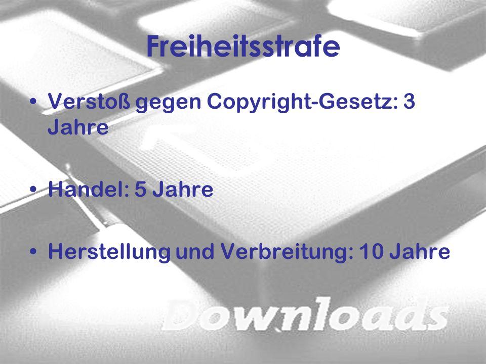 Verstoß gegen Copyright-Gesetz: 3 Jahre Handel: 5 Jahre Herstellung und Verbreitung: 10 Jahre