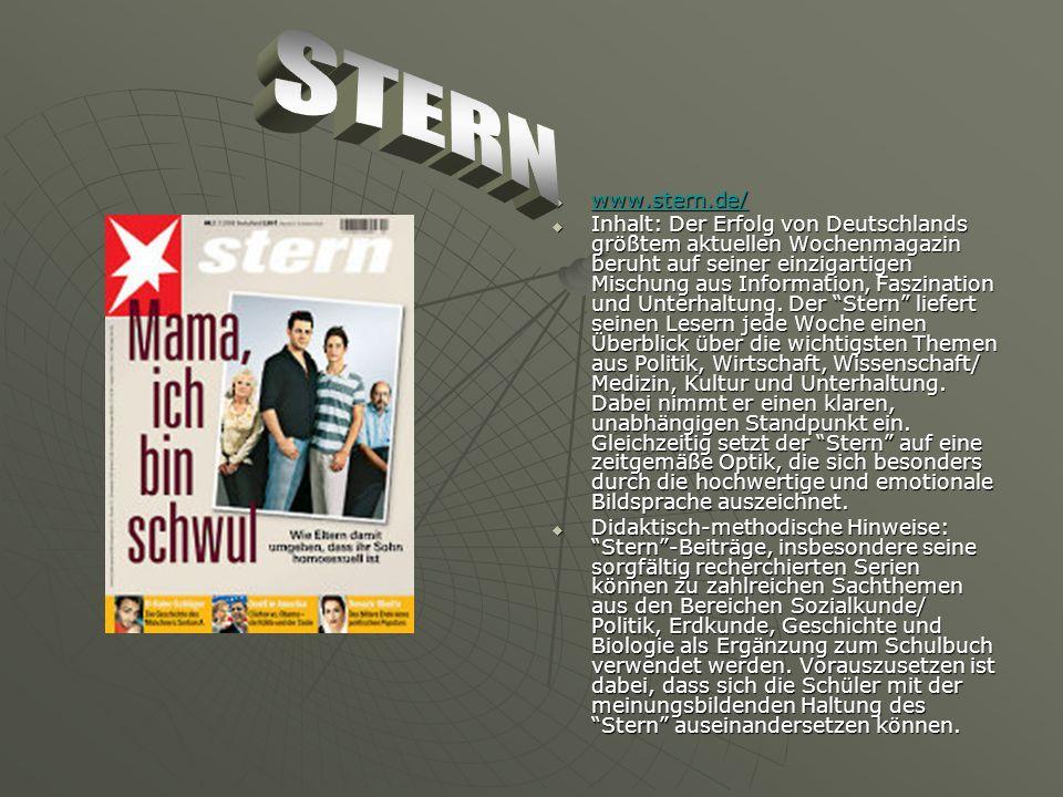 www.stern.de/ www.stern.de/ www.stern.de/ Inhalt: Der Erfolg von Deutschlands größtem aktuellen Wochenmagazin beruht auf seiner einzigartigen Mischung aus Information, Faszination und Unterhaltung.