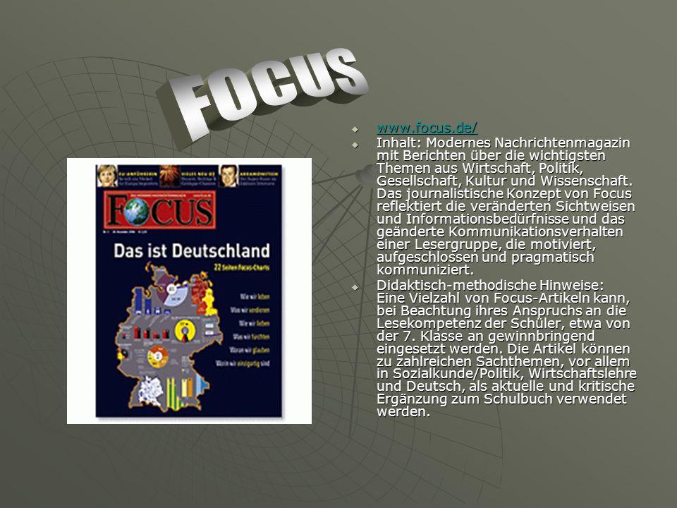 www.focus.de/ www.focus.de/ www.focus.de/ Inhalt: Modernes Nachrichtenmagazin mit Berichten über die wichtigsten Themen aus Wirtschaft, Politik, Gesellschaft, Kultur und Wissenschaft.