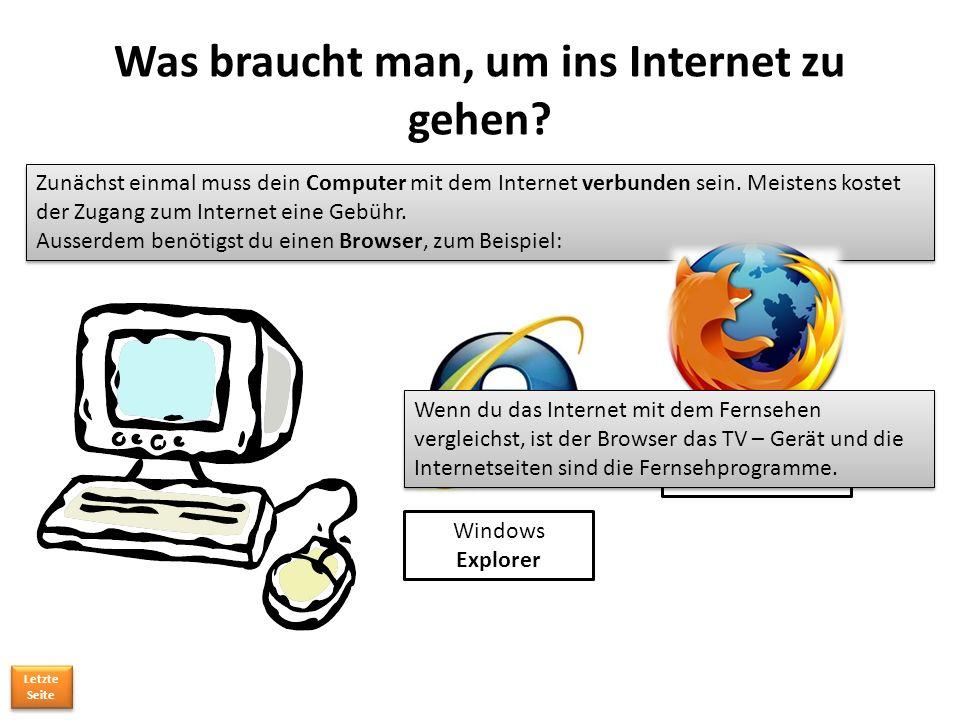 Was braucht man, um ins Internet zu gehen.