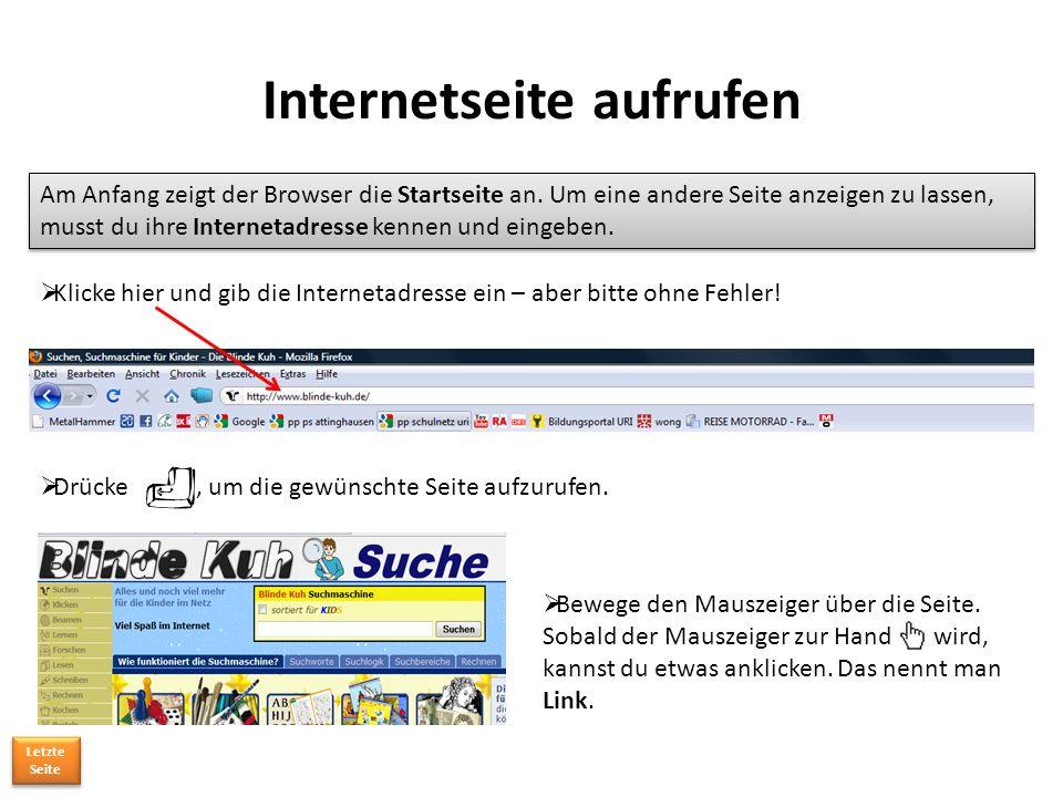 Internetseite aufrufen Am Anfang zeigt der Browser die Startseite an.