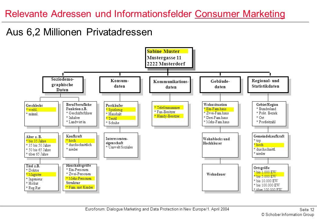Euroforum: Dialogue Marketing and Data Protection in New Europe/1. April 2004 Seite 12 © Schober Information Group Aus 6,2 Millionen Privatadressen Sa