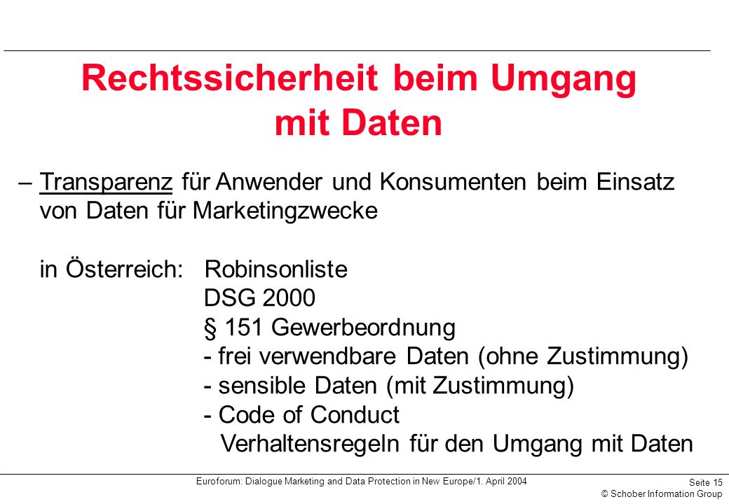 Euroforum: Dialogue Marketing and Data Protection in New Europe/1. April 2004 Seite 15 © Schober Information Group Rechtssicherheit beim Umgang mit Da