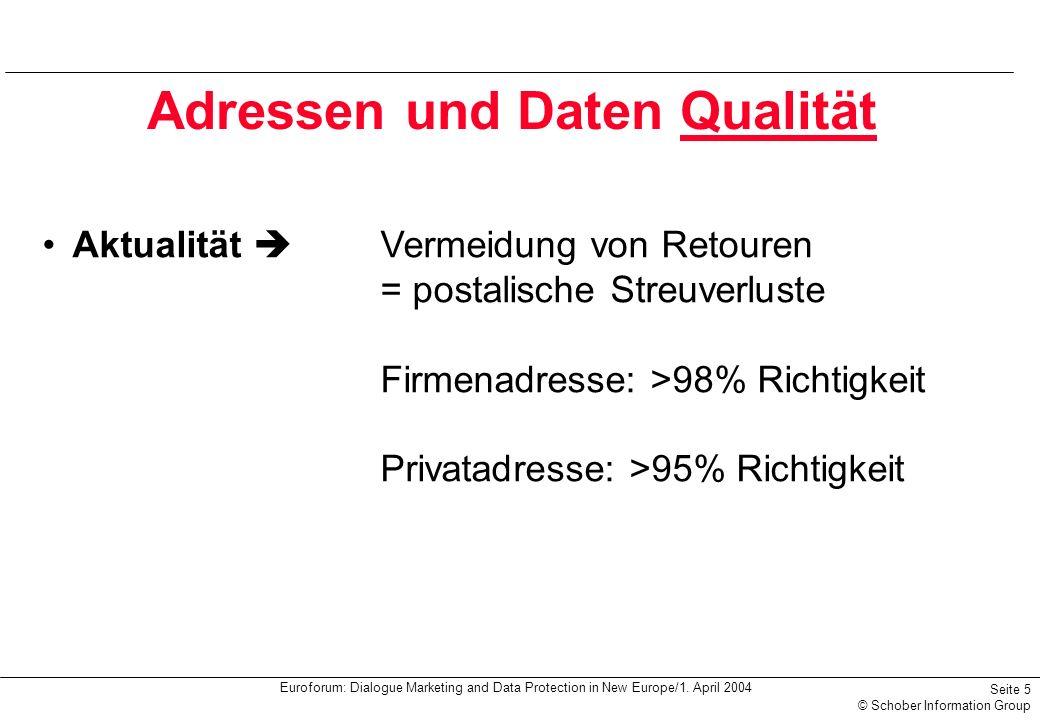 Euroforum: Dialogue Marketing and Data Protection in New Europe/1. April 2004 Seite 5 © Schober Information Group Adressen und Daten Qualität Aktualit