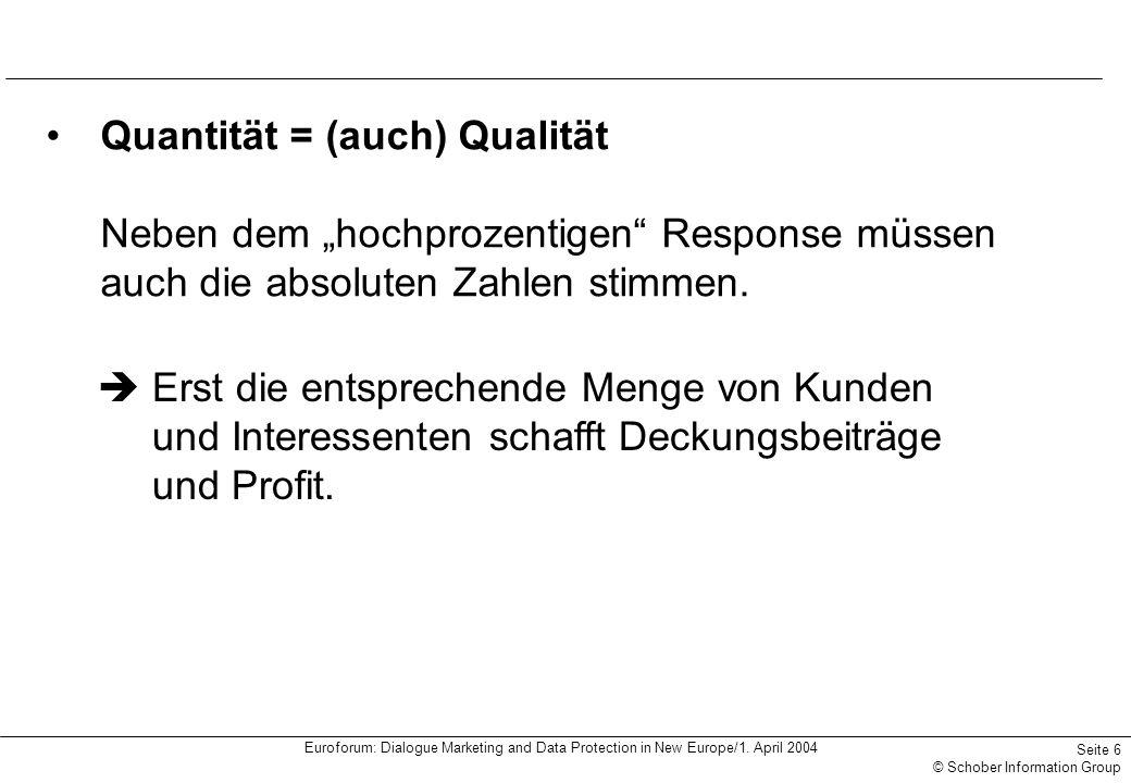 Euroforum: Dialogue Marketing and Data Protection in New Europe/1. April 2004 Seite 6 © Schober Information Group Quantität = (auch) Qualität Neben de