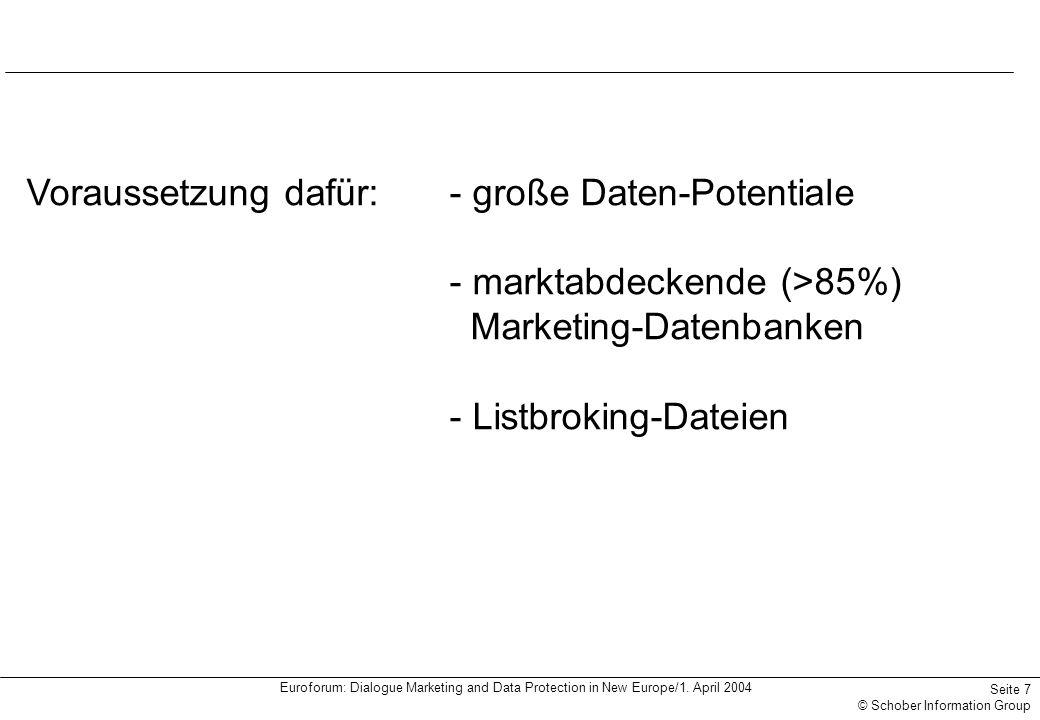Euroforum: Dialogue Marketing and Data Protection in New Europe/1. April 2004 Seite 7 © Schober Information Group Voraussetzung dafür:- große Daten-Po