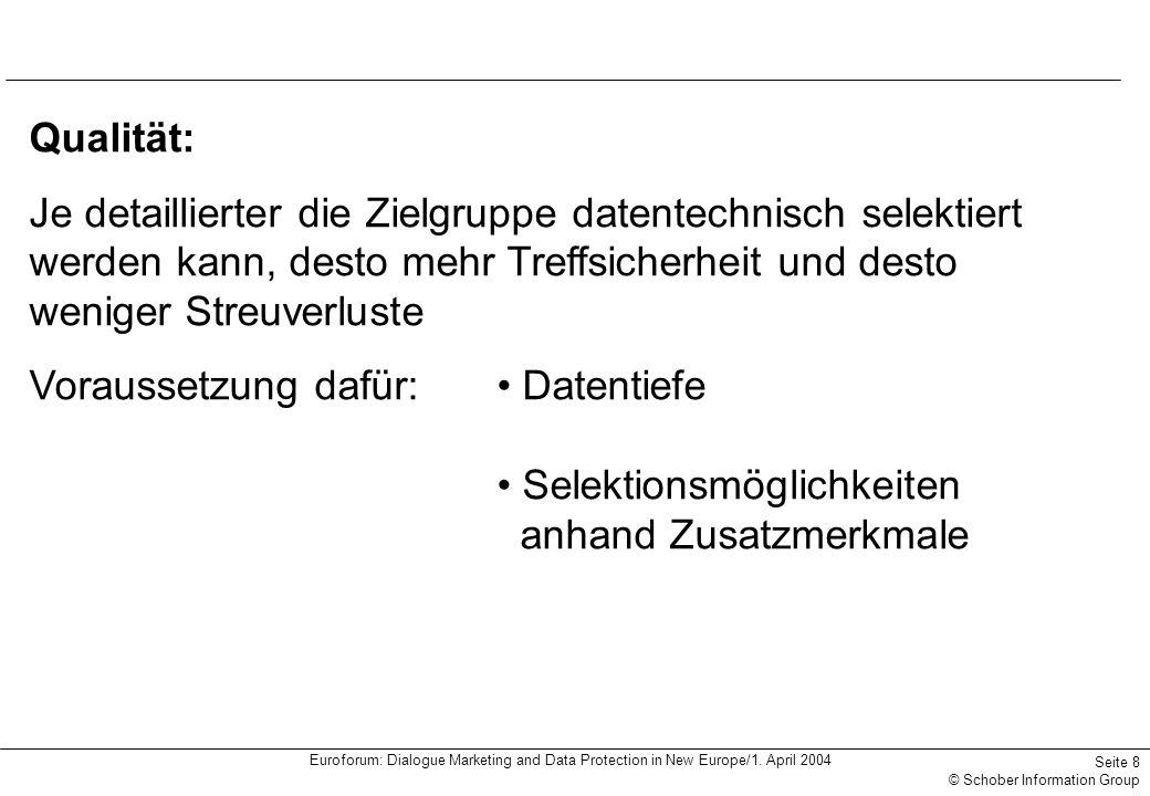 Euroforum: Dialogue Marketing and Data Protection in New Europe/1. April 2004 Seite 8 © Schober Information Group Qualität: Je detaillierter die Zielg
