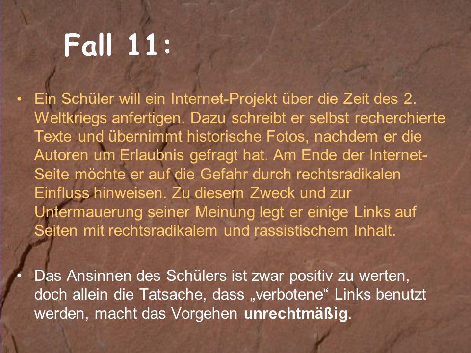 Fall 11: Ein Schüler will ein Internet-Projekt über die Zeit des 2.