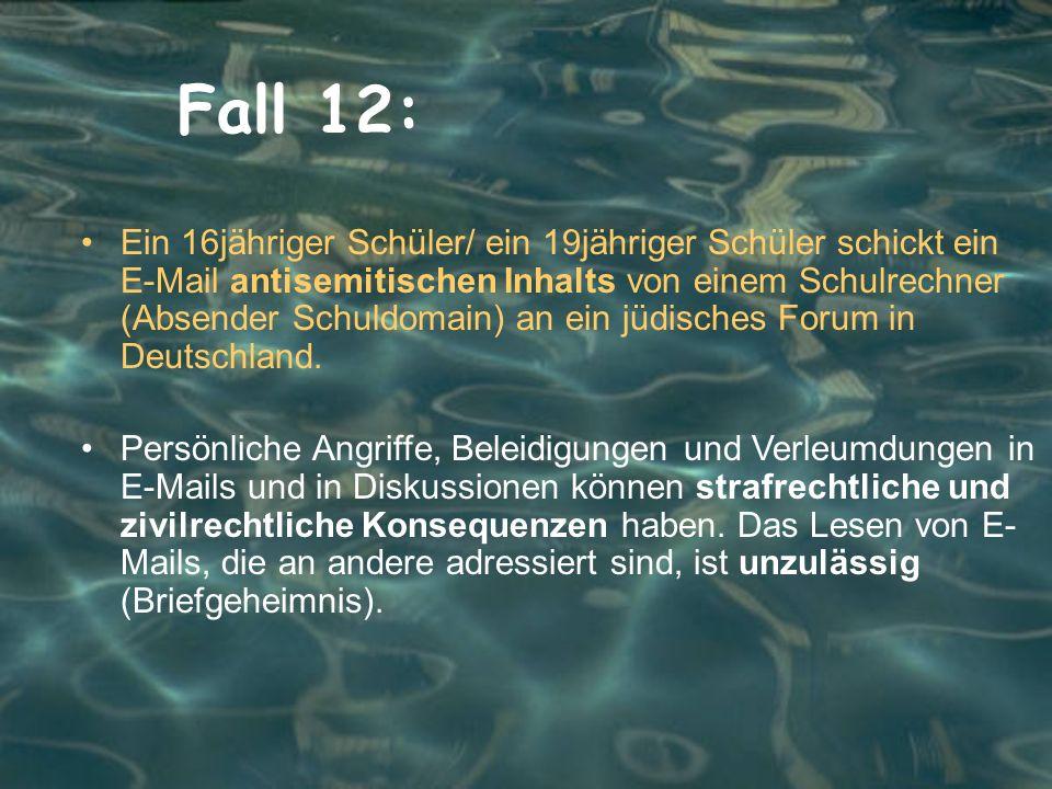 Fall 12: Ein 16jähriger Schüler/ ein 19jähriger Schüler schickt ein E-Mail antisemitischen Inhalts von einem Schulrechner (Absender Schuldomain) an ein jüdisches Forum in Deutschland.