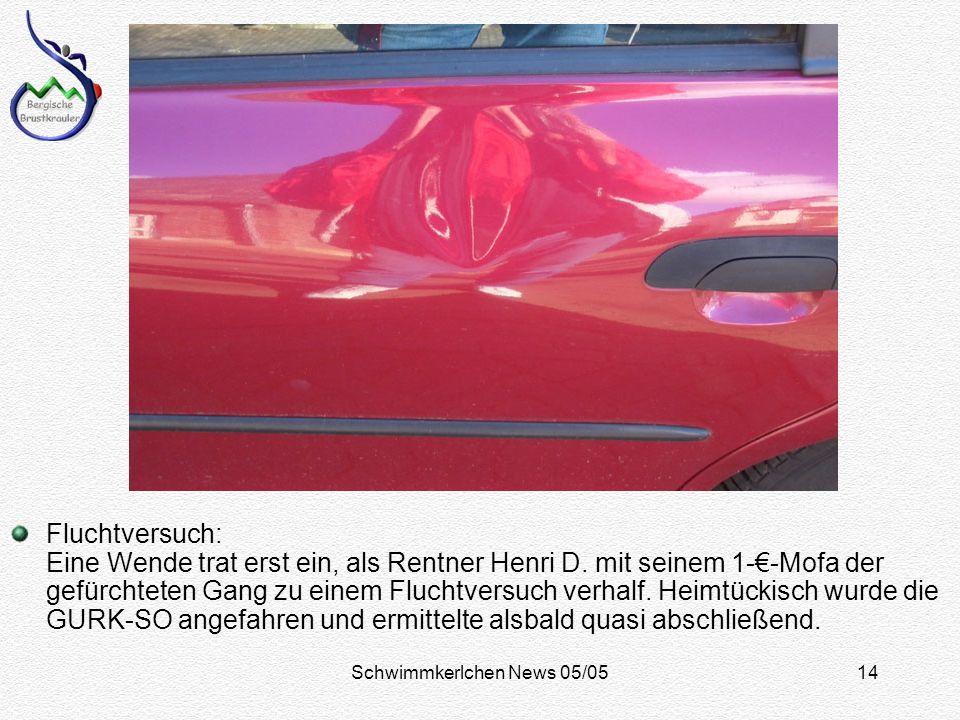 Schwimmkerlchen News 05/0514 Fluchtversuch: Eine Wende trat erst ein, als Rentner Henri D.