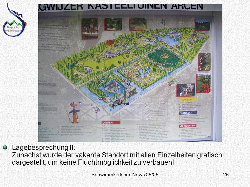 Schwimmkerlchen News 05/0526 Lagebesprechung II: Zunächst wurde der vakante Standort mit allen Einzelheiten grafisch dargestellt, um keine Fluchtmöglichkeit zu verbauen!