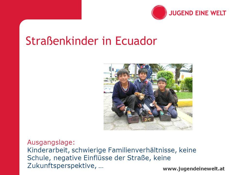www.jugendeinewelt.at Straßenkinder in Ecuador Ausgangslage: Kinderarbeit, schwierige Familienverhältnisse, keine Schule, negative Einflüsse der Straße, keine Zukunftsperspektive, …