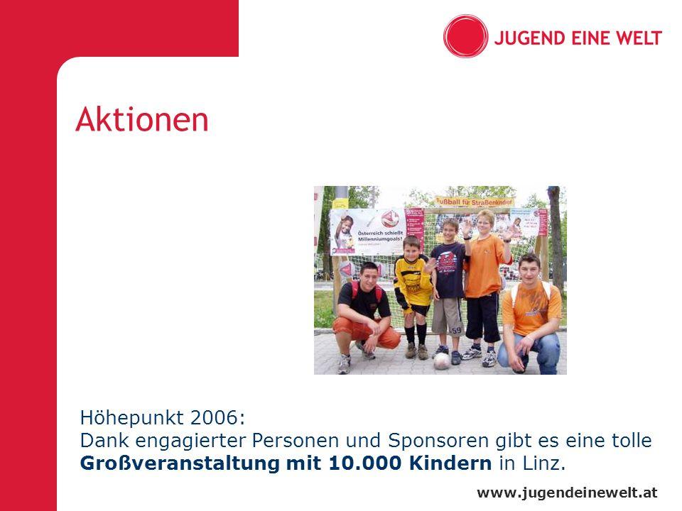 www.jugendeinewelt.at Aktionen Höhepunkt 2006: Dank engagierter Personen und Sponsoren gibt es eine tolle Großveranstaltung mit 10.000 Kindern in Linz.