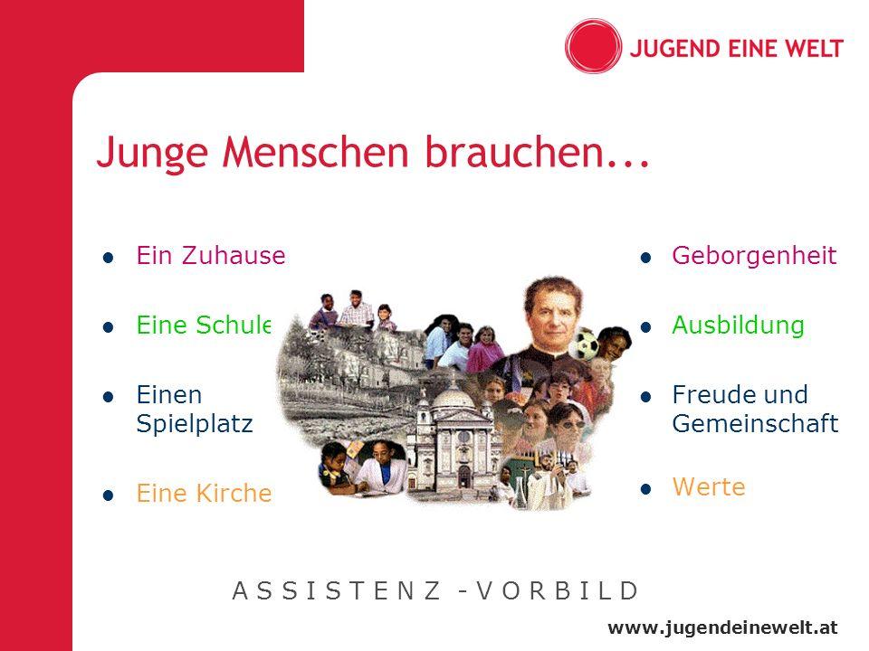 www.jugendeinewelt.at Junge Menschen brauchen... Ein Zuhause Eine Schule Einen Spielplatz Eine Kirche Geborgenheit Ausbildung Freude und Gemeinschaft