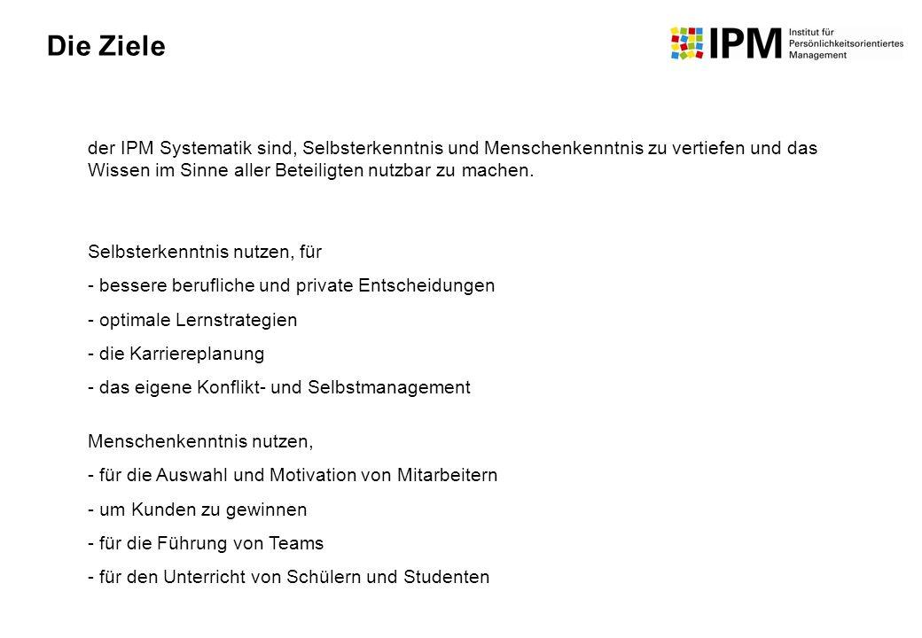 der IPM Systematik sind, Selbsterkenntnis und Menschenkenntnis zu vertiefen und das Wissen im Sinne aller Beteiligten nutzbar zu machen. Selbsterkennt