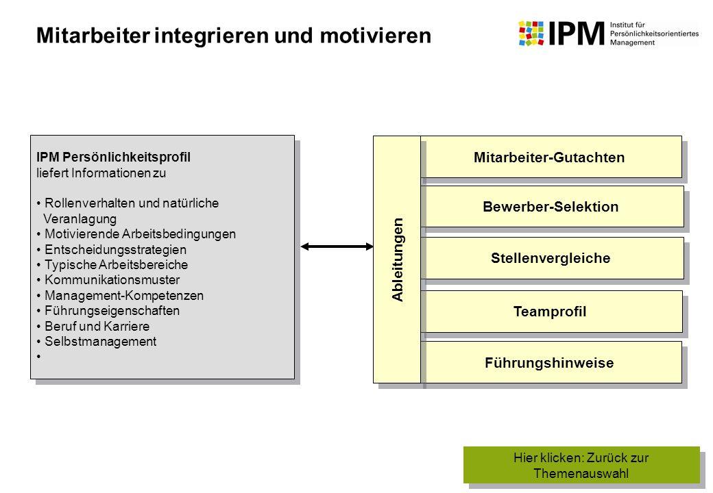 IPM Persönlichkeitsprofil liefert Informationen zu Rollenverhalten und natürliche Veranlagung Motivierende Arbeitsbedingungen Entscheidungsstrategien