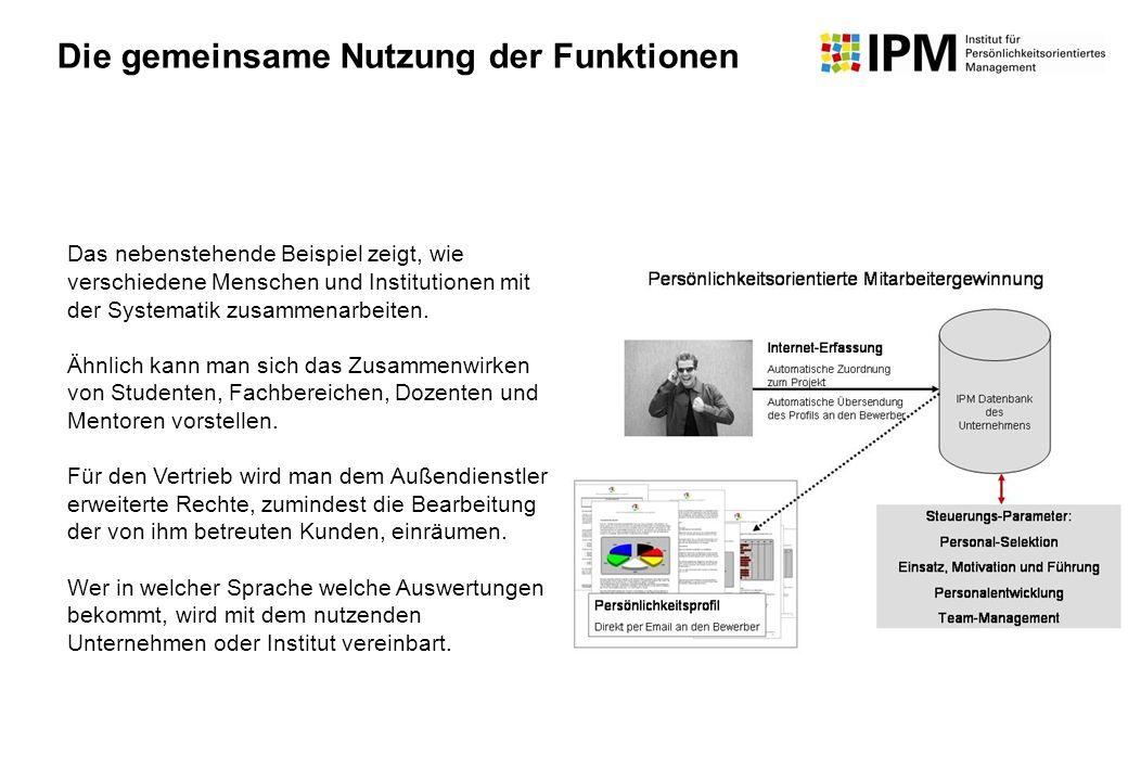 Das nebenstehende Beispiel zeigt, wie verschiedene Menschen und Institutionen mit der Systematik zusammenarbeiten. Ähnlich kann man sich das Zusammenw