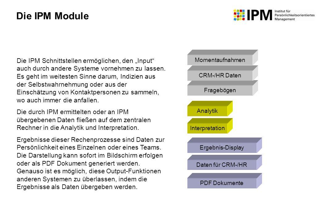 Momentaufnahmen Fragebögen Analytik Ergebnis-Display Die IPM Schnittstellen ermöglichen, den Input auch durch andere Systeme vornehmen zu lassen. Es g