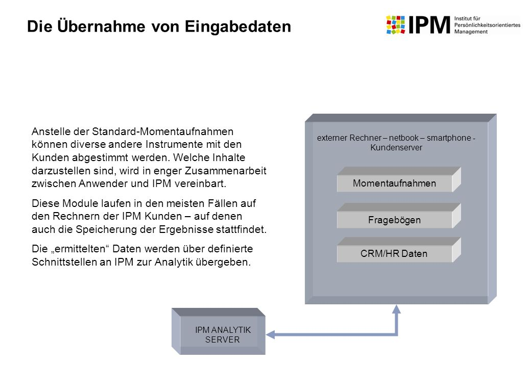 CRM/HR Daten Momentaufnahmen Fragebögen Anstelle der Standard-Momentaufnahmen können diverse andere Instrumente mit den Kunden abgestimmt werden. Welc