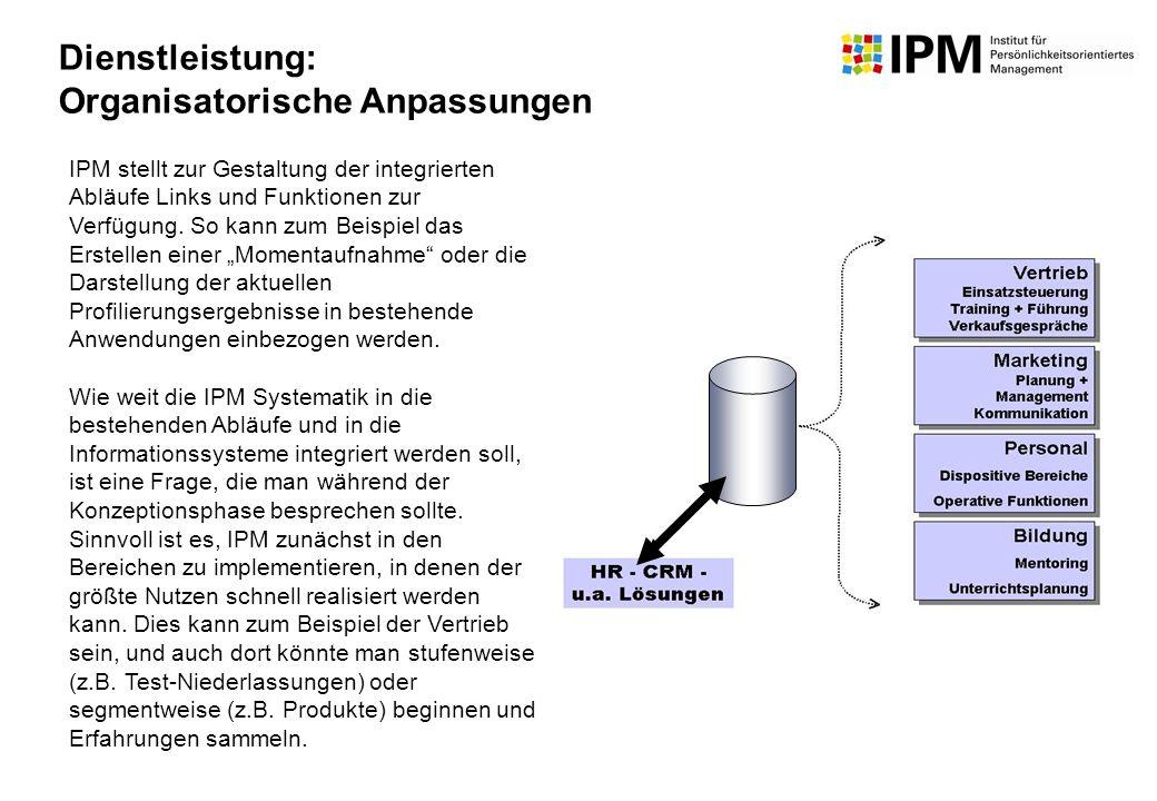 IPM stellt zur Gestaltung der integrierten Abläufe Links und Funktionen zur Verfügung. So kann zum Beispiel das Erstellen einer Momentaufnahme oder di