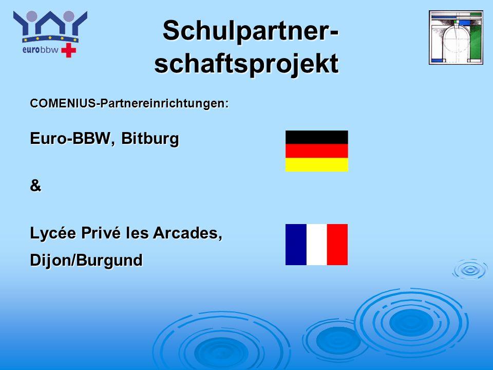Logo 1 Schulpartner- schaftsprojekt Schulpartner- schaftsprojekt COMENIUS-Partnereinrichtungen: Euro-BBW, Bitburg & Lycée Privé les Arcades, Dijon/Burgund