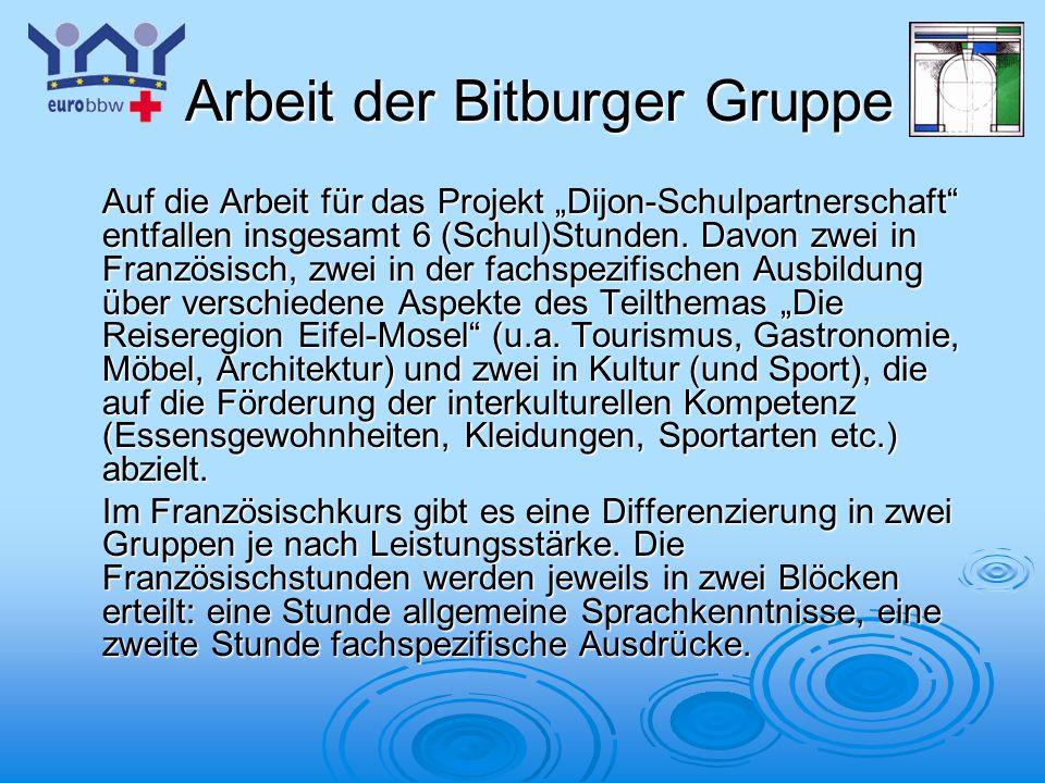 Logo 1 Arbeit der Bitburger Gruppe Arbeit der Bitburger Gruppe Auf die Arbeit für das Projekt Dijon-Schulpartnerschaft entfallen insgesamt 6 (Schul)St