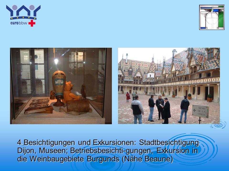 Logo 1 4.Besichtigungen und Exkursionen: Stadtbesichtigung Dijon, Museen; Betriebsbesichti-gungen, Exkursion in die Weinbaugebiete Burgunds (Nähe Beau