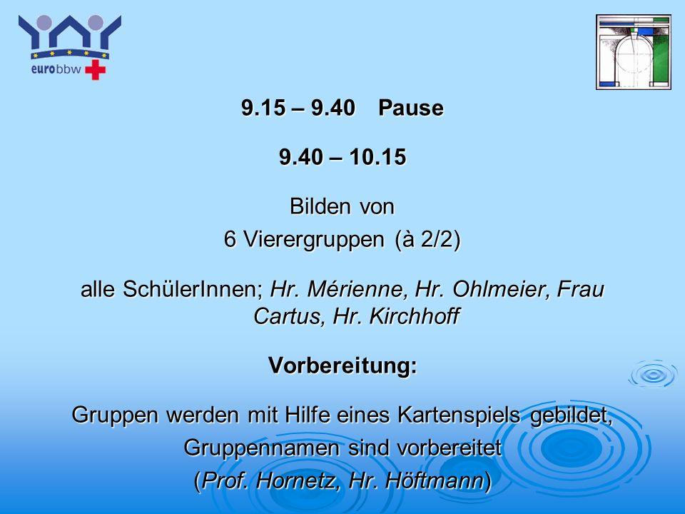 Logo 1 9.15 – 9.40 Pause 9.40 – 10.15 Bilden von 6 Vierergruppen (à 2/2) alle SchülerInnen; Hr.