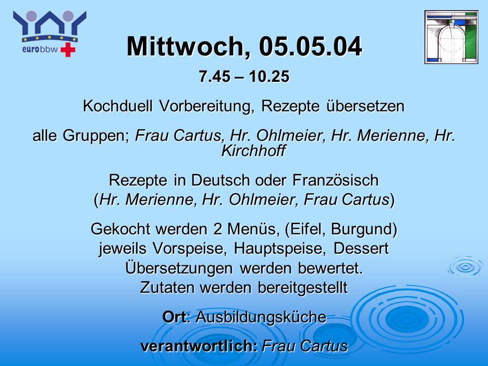 Logo 1 Mittwoch, 05.05.04 7.45 – 10.25 Kochduell Vorbereitung, Rezepte übersetzen alle Gruppen; Frau Cartus, Hr. Ohlmeier, Hr. Merienne, Hr. Kirchhoff