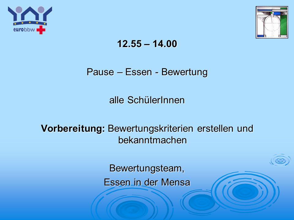 Logo 1 12.55 – 14.00 Pause – Essen - Bewertung alle SchülerInnen Vorbereitung: Bewertungskriterien erstellen und bekanntmachen Bewertungsteam, Essen in der Mensa