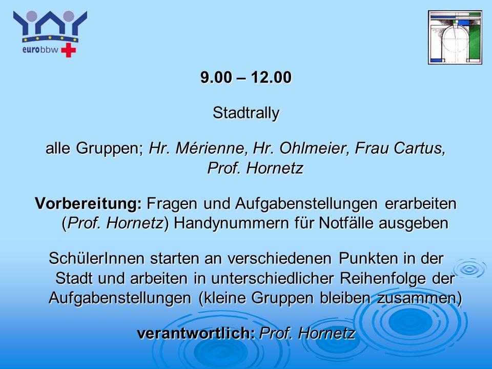 Logo 1 9.00 – 12.00 Stadtrally alle Gruppen; Hr. Mérienne, Hr. Ohlmeier, Frau Cartus, Prof. Hornetz Vorbereitung: Fragen und Aufgabenstellungen erarbe