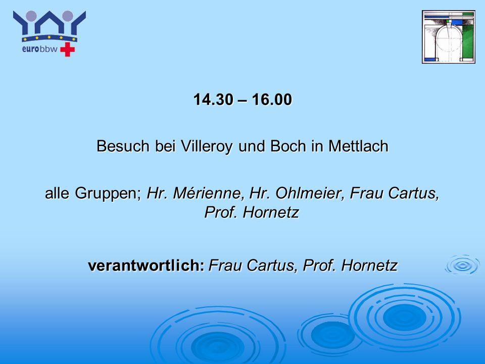 Logo 1 14.30 – 16.00 Besuch bei Villeroy und Boch in Mettlach alle Gruppen; Hr. Mérienne, Hr. Ohlmeier, Frau Cartus, Prof. Hornetz verantwortlich: Fra