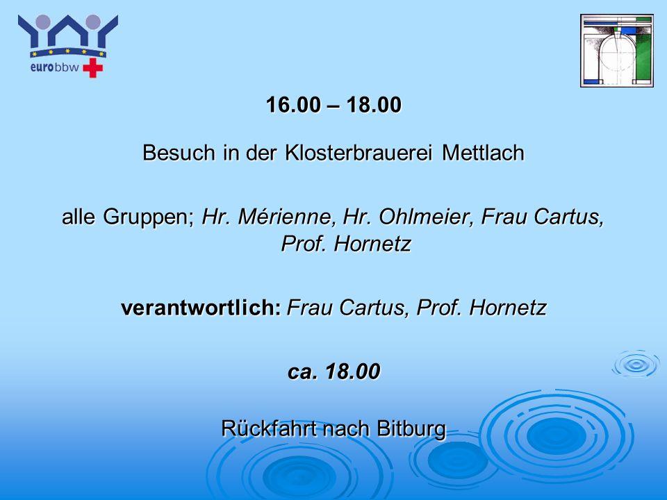 Logo 1 16.00 – 18.00 Besuch in der Klosterbrauerei Mettlach alle Gruppen; Hr. Mérienne, Hr. Ohlmeier, Frau Cartus, Prof. Hornetz verantwortlich: Frau