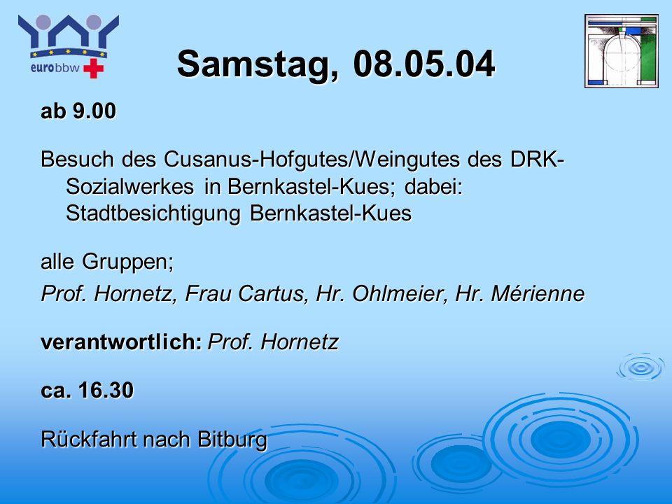 Logo 1 Samstag, 08.05.04 ab 9.00 Besuch des Cusanus-Hofgutes/Weingutes des DRK- Sozialwerkes in Bernkastel-Kues; dabei: Stadtbesichtigung Bernkastel-Kues alle Gruppen; Prof.