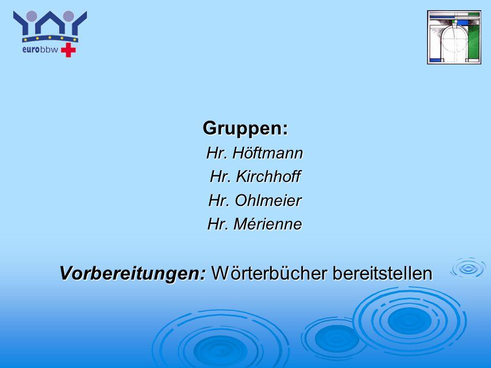 Logo 1 Gruppen: Hr. Höftmann Hr. Kirchhoff Hr. Ohlmeier Hr. Mérienne Vorbereitungen: Wörterbücher bereitstellen
