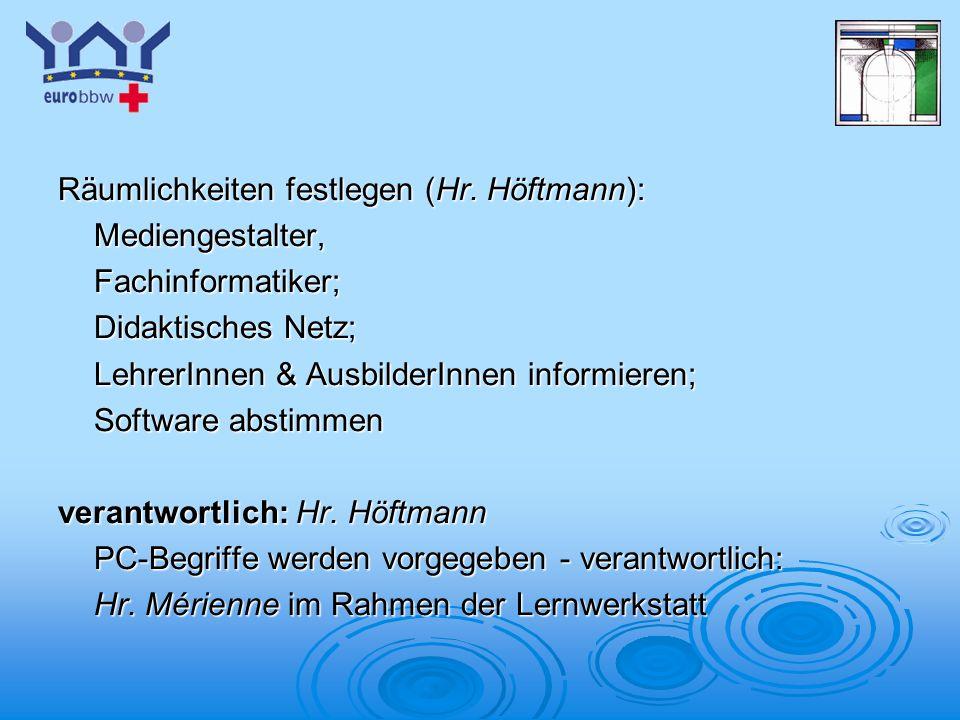 Logo 1 Räumlichkeiten festlegen (Hr. Höftmann): Mediengestalter,Fachinformatiker; Didaktisches Netz; LehrerInnen & AusbilderInnen informieren; Softwar