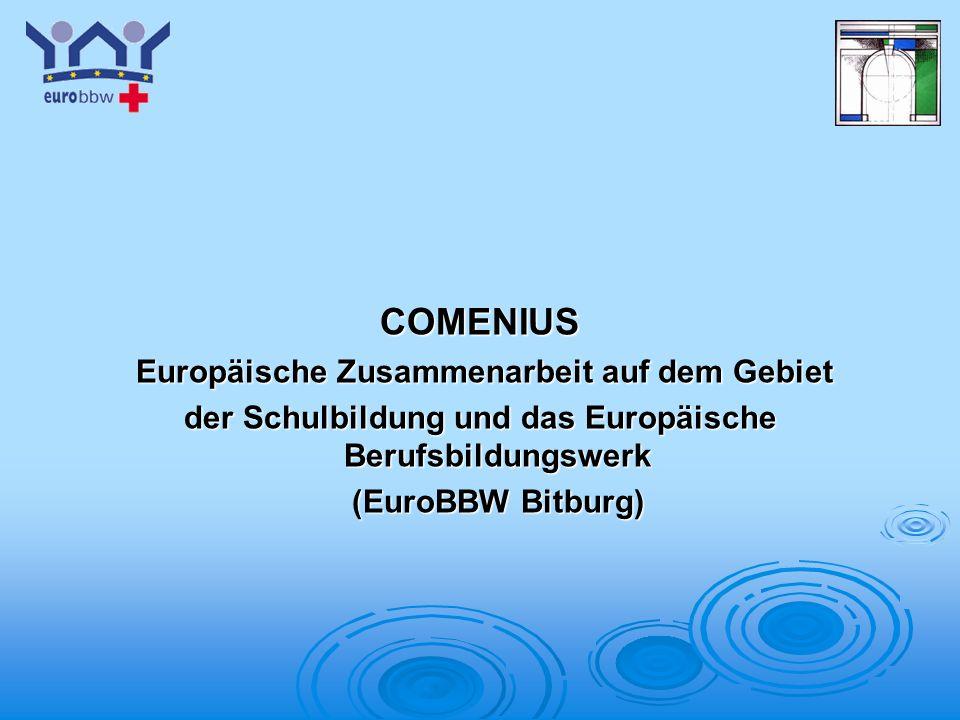 Logo 1 Austausch Finanziert über das COMENIUS-Programm der EU (einjähriges Programm) werden jeweils 14-tägige Austauschtreffen der deutschen und französischen SchülerInnen sowie ihrer begleitenden Lehrkräfte finanziert; außerdem jeweils ein vorbereitendes Treffen der koordinierenden Lehrkräfte (Herr Mérienne in Dijon im November 2003; Mme Mathy in Bitburg im April 2004) sowie Treffen zur Vorbereitung von Anträgen (durchgeführt im Februar 2002).