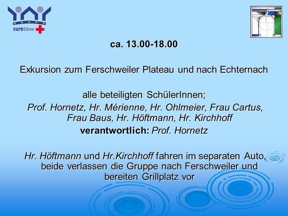 Logo 1 ca. 13.00-18.00 Exkursion zum Ferschweiler Plateau und nach Echternach alle beteiligten SchülerInnen; Prof. Hornetz, Hr. Mérienne, Hr. Ohlmeier