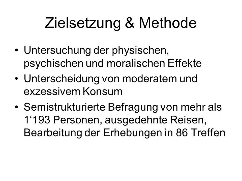 Zielsetzung & Methode Untersuchung der physischen, psychischen und moralischen Effekte Unterscheidung von moderatem und exzessivem Konsum Semistruktur