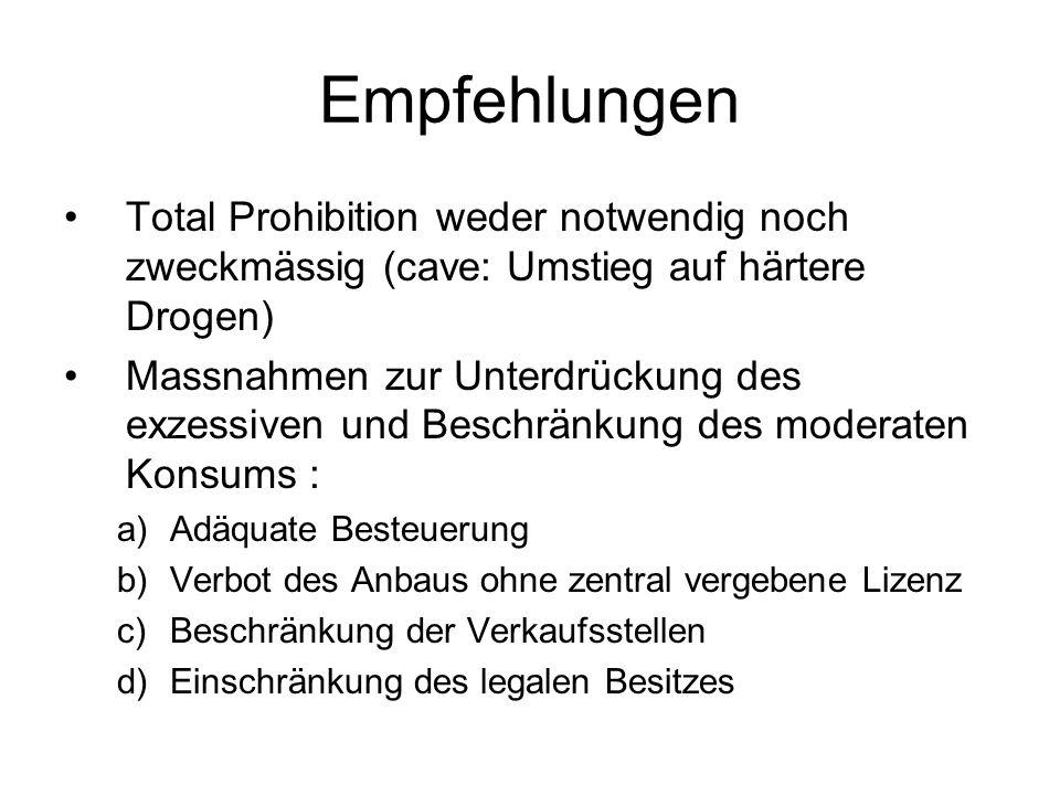 Empfehlungen Total Prohibition weder notwendig noch zweckmässig (cave: Umstieg auf härtere Drogen) Massnahmen zur Unterdrückung des exzessiven und Bes