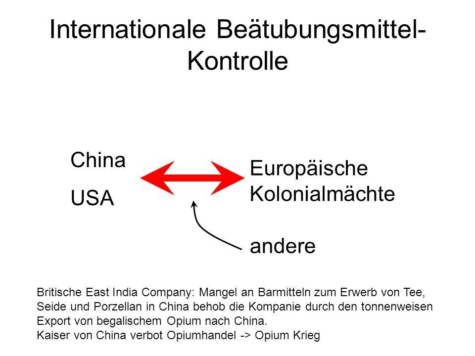 Internationale Beätubungsmittel- Kontrolle China USA Europäische Kolonialmächte andere Britische East India Company: Mangel an Barmitteln zum Erwerb v