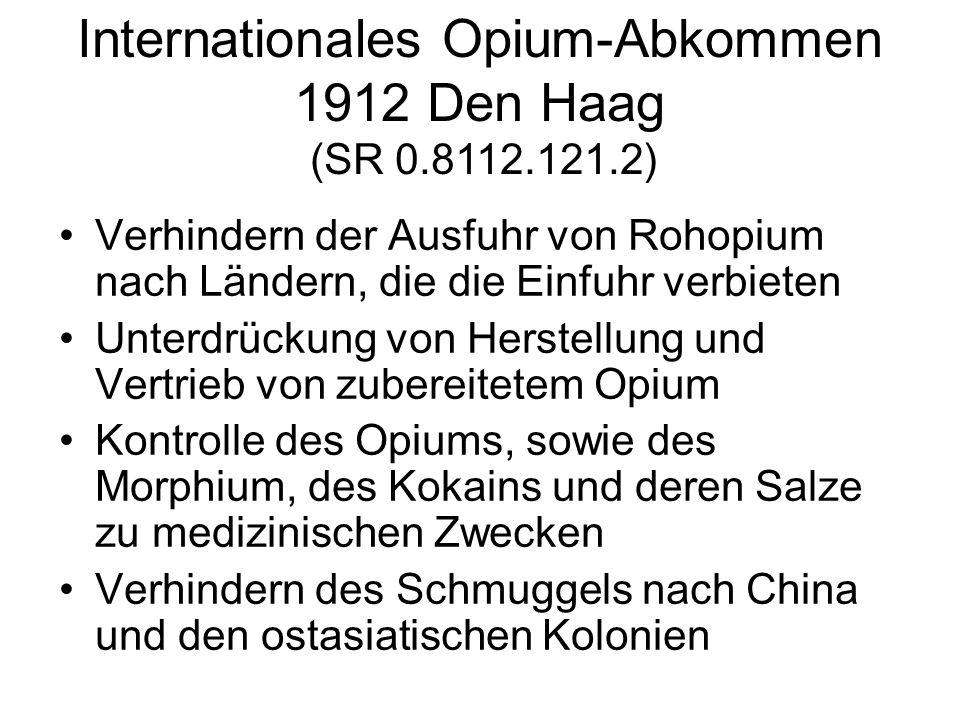 Verhindern der Ausfuhr von Rohopium nach Ländern, die die Einfuhr verbieten Unterdrückung von Herstellung und Vertrieb von zubereitetem Opium Kontroll