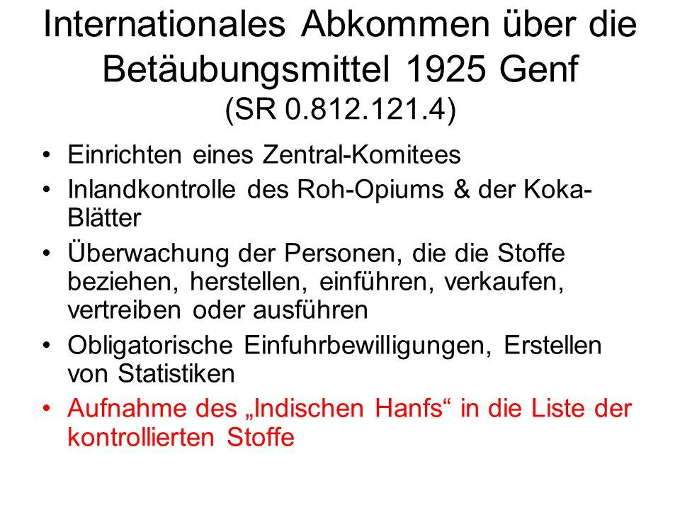 Internationales Abkommen über die Betäubungsmittel 1925 Genf (SR 0.812.121.4) Einrichten eines Zentral-Komitees Inlandkontrolle des Roh-Opiums & der K