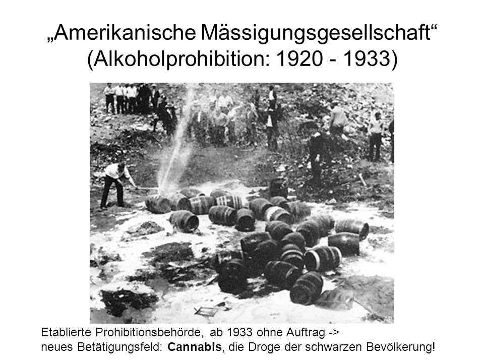 Amerikanische Mässigungsgesellschaft (Alkoholprohibition: 1920 - 1933) Etablierte Prohibitionsbehörde, ab 1933 ohne Auftrag -> neues Betätigungsfeld: